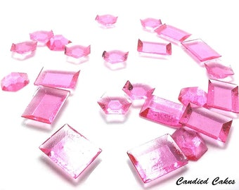 PINK EDIBLE SUGAR Jewels -Cupcake Toppers, Wedding Cake Decorations, Candy or Dessert Table, Sugar Gems, Featured in Brides Magazine