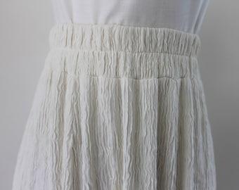 1990s Cream Crushed Maxi Skirt