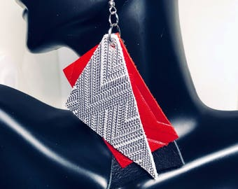 Red Leather Abstract Statement Earrings- SALE