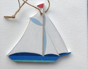 Sailboat Ornament- Sailboat Christmas Ornament - White and Blue Sailboat - Sailboat Gift - Sailboat Decor - Wood Sailboat Ornament