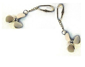 2x Keychain Maritime-solid brass, nickel plated *