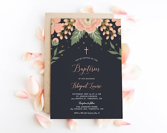 INSTANT DOWNLOAD - Printable Baptism Invitation Template - Botanical Peach Floral Blooms Baptism Invitation - Editable 5x7 Invitation