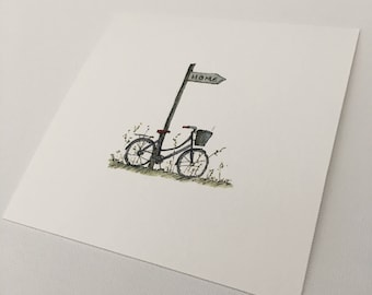 Bicycle. Fine Art Giclée Print of an Original Ink and Watercolour Drawing.