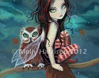 Cute Gothic Fairy and Owl Autumn Fine Art Giclee Print by Molly Harrison 8 x 10