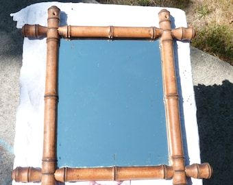 French Vintage Faux Bamboo Mirror - 1920s Mirror - Wall Hanging - Rustic French Decor - Sturdy Piece - Wooden Frame Mirror - Spring Finds