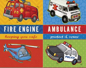 """Popular Fire Truck, Ambulance, Helicopter and Police Car  Four 8""""x8"""" PRINTS"""