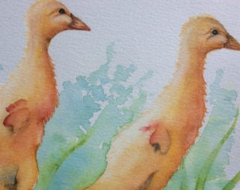 ORIGINAL ducklings watercolour painting