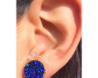 Royal Blue Druzy 12mm Earring Studs in a Crown Setting { Nickel Free, Lead Free }