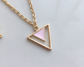 Pink Triangle Pendant Necklace, Gold Shape Necklace, Geometric Necklace, Modern Necklace, Pastel Pink Necklace, Triangle Jewellery