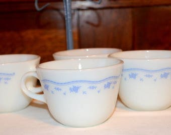 Set Of Four Vintage Pyrex Morning Blue Corning USA Coffee Cups