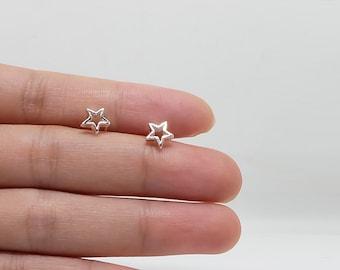 Open star sterling silver stud earrings, tiny star shaped minimalist earring everyday earrings,  geometric studs