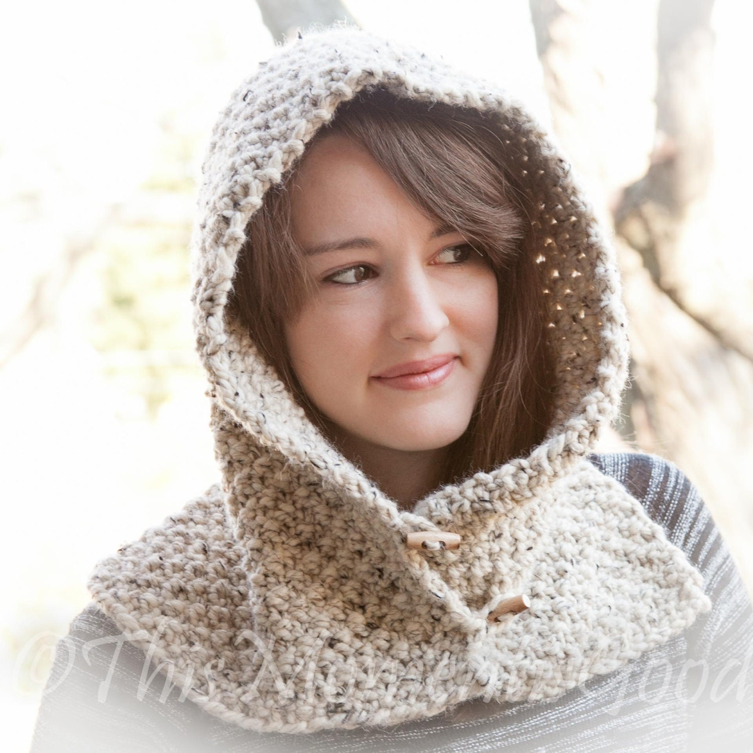 Loom Knit Hood With Cowl PATTERN. Child Teen & Adult Sizes.