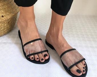 Woman Sandals Transparent Leather Flat