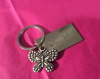 Hand gestempelt personalisierte Kinder Schultasche Namen Schlüsselanhänger mit Charme