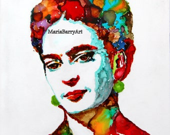Frida Kahlo: Print from an original Alcohol Ink Painting of this Mexican Artist.