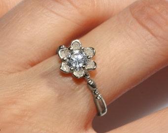 14k white gold Flower engagement ring, handmade leaf diamond ring, floral diamond Ring, solitaire diamond ring, half carat leaf diamond ring