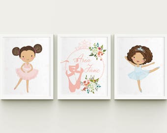 Ballerina nursery printable art set, personalized ballerina art, custom girl room wall art, ballerina playroom decor Download