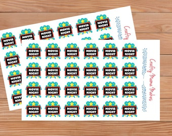 Movie Night - Planners - Diary - Stickers - Happy Planner - Erin Condren - Filofax etc