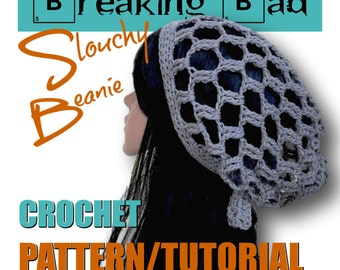 CROCHET PATTERN TUTORIAL - The Breaking Bad Slouchy Beanie - 8 Page Pdf - 20 Photos - Easy, Quick, Clear Directions - Make in a Day