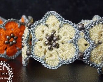 Yellow or Orange Flower Handmade Crochet Bracelet with Beads, Beaded Bracelet, Crochet Jewelry, Perfect Gift For Her, Handmade Bracelet,Cuff