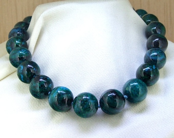 "20""  16mm Charm Azurite Chrysocolla Round Beads Knotted Choker Necklace  Green Necklace"