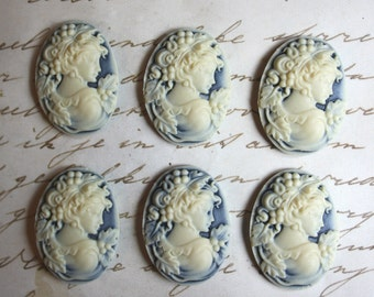 6 unset lady cameos - Ivory on hazy blue - 25x18mm