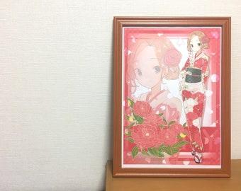 "Kimono girl illustration  ""Peony"" digital art Japanese manga"