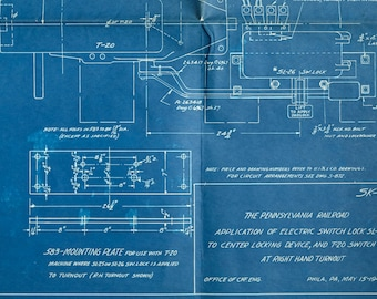 Vintage Engineering Blueprint - Pennsylvania Railroad Switches - Large 1946 Technical Drawing