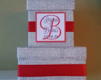 Bling Card Box - Your choice of color with Personalized Monogram- Cardbox Rhinestone Diamond Crystal Silver - Custom