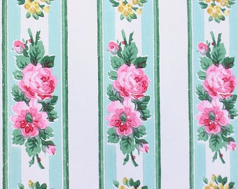 Antique Pink and Yellow Cabbage Roses 1940s 40s Vintage Aqua Floral Pattern Wallpaper