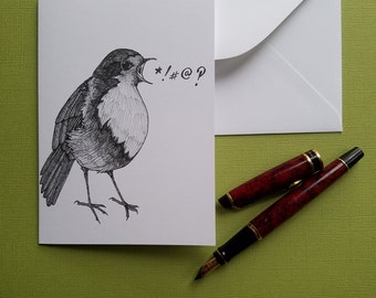 robin takes offense greeting card blank bird note card with envelope 4 x 6