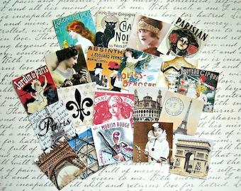20 Large Paris STICKERS- Paris cupcake toppers Paris gift tags Paris collages Paris journal scrapbooking Paris squares Paris artwork French