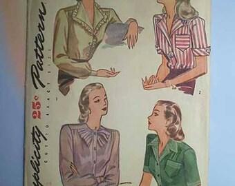 Vintage 40s Blouse Pattern Button Front 34
