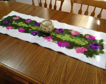 Flower Wall Art or Nuno Felted Table Runner