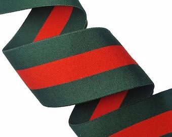 Green Red Striped Rubber Elastic Trim, Stretch Striped Fashion Trim
