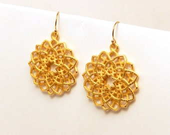 Mandala Flower Earrings  (3D printed steel, bronze, gold)