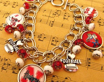 Mr.Eleven Nebraska C.ornhuskers College Football Team Logo Charms Bracelet Best Birthday|Party|Match|Easter Personalized Gift