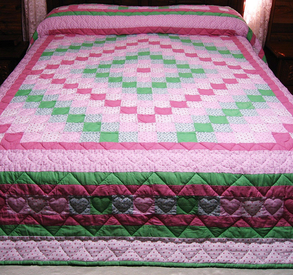 Reduced price Hand Quilted Quilt Around The World Quilt