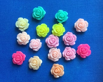 So cute mini mini rose cabochons decoden deco diy charms   16 pcs---USA seller