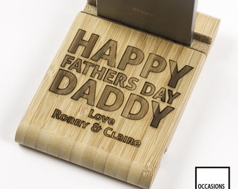 Happy Fathers Day, Daddy, Personalised Phone Stand, Wooden Phone Stand, Tablet Stand, Gift For Dad, Phone Stand, Charging Stand