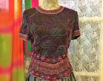 Beaded Silk Blouse Formal Black Silk Blouse Size M Lawrence Kazan Made in India Spiral Design