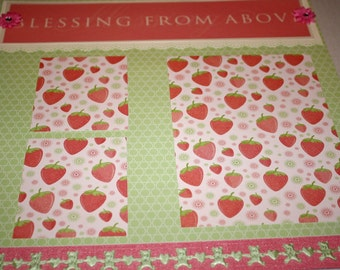 SALE!! Baby Girl Scrapbooking Premade Page 12x12 - Blessings From Above