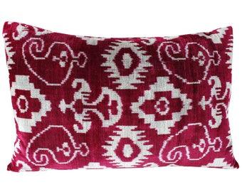 Silk Velvet Ikat Pillow Cover VP23, Bohemian pillow, Velvet Ikat Pillow, Velvet Pillow, Velvet Pillow Cover, Ikat Pillows, Throw Pillows