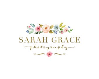 Premade Photography Logo and Watermark,  Watercolor Gold Floral Bouquet Logo Design, Flower Shop Logo 431