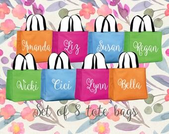 Monogrammed Teacher Totes - Set of 8 - Bridesmaid Tote bags - Bachelorette Beach Bags - Teacher Appreciation Gifts