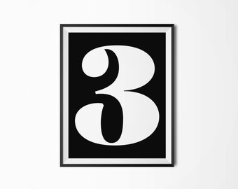 Number 3, Printable poster, Four sizes, Typography, Printable art, Scandinavian poster, Modern art, Minimal art, Typography poster, 3 poster