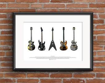 Famous Metal Guitars - ART POSTER A2 size