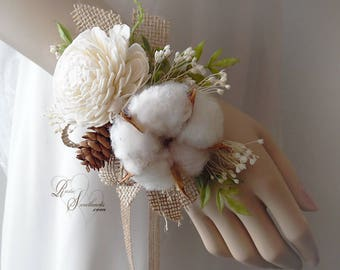 Rustic Sola Flower & Cotton Boll Wedding Corsage. Can be worn as a wrist corsage or pin on.