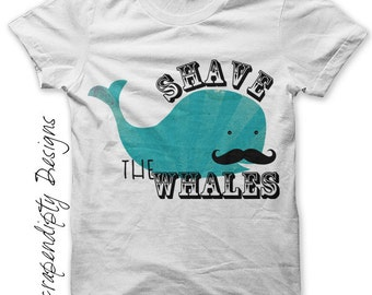 Iron on Whale Shirt - Mustache Iron on Transfer / Kids Boys Funny T shirt / Men Tshirt Shave the Whales Tee / Hipster Baby One Pieces IT225