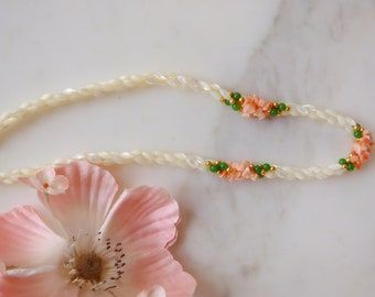 Mother of Pearl and Jade Multi Strand Vintage Necklace